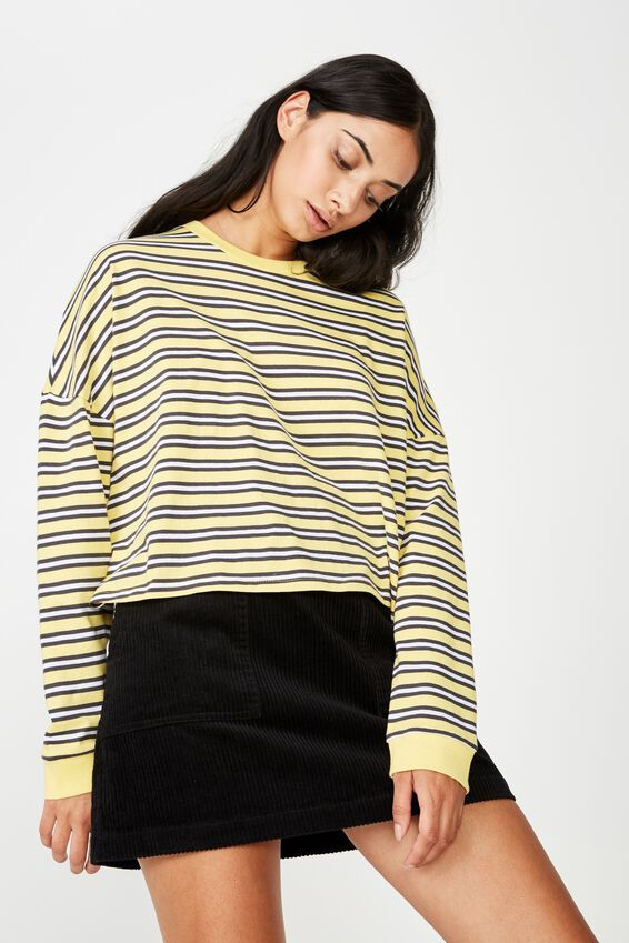 Long Sleeve Graphic T Shirt, TRINITY STRIPE_YELLOW