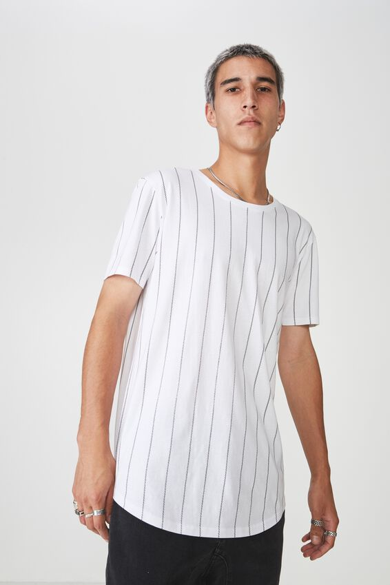 Curved Graphic T Shirt, WHITE/LOCK STRIPE