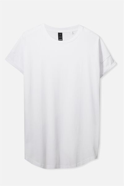 Curved Roll Tee, WHITE