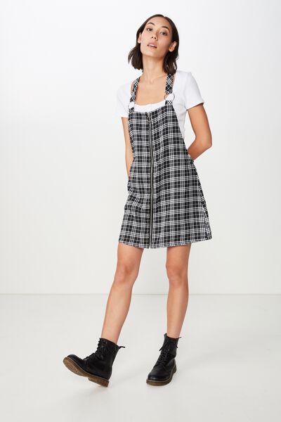 Zip Front Dress 3, BLACK/WHITE CHECK