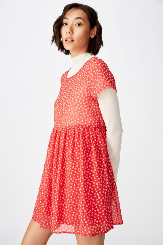 Babydoll Dress, STAMP ROSE_WASHED RED