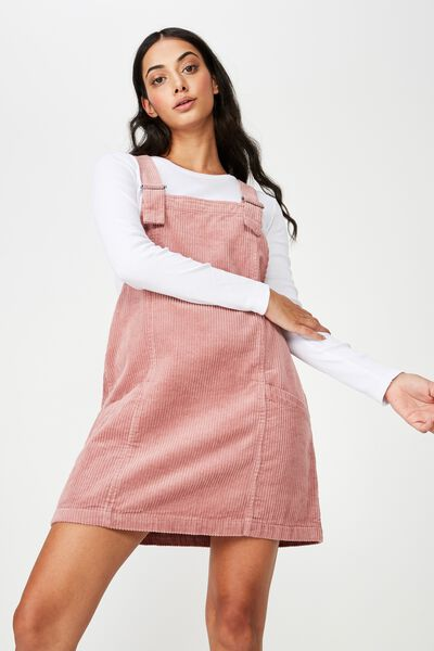 Cord Overall Dress, DUSTY PINK