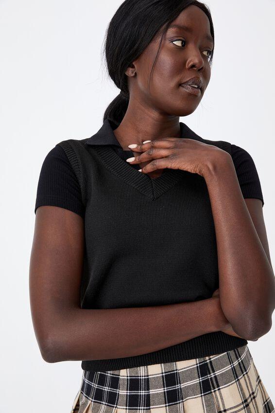 Cropped Knit Vest, BLACK