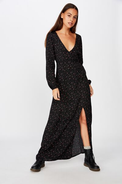 Long Sleeve Maxi Dress, BLACK SPLATTER FLORAL