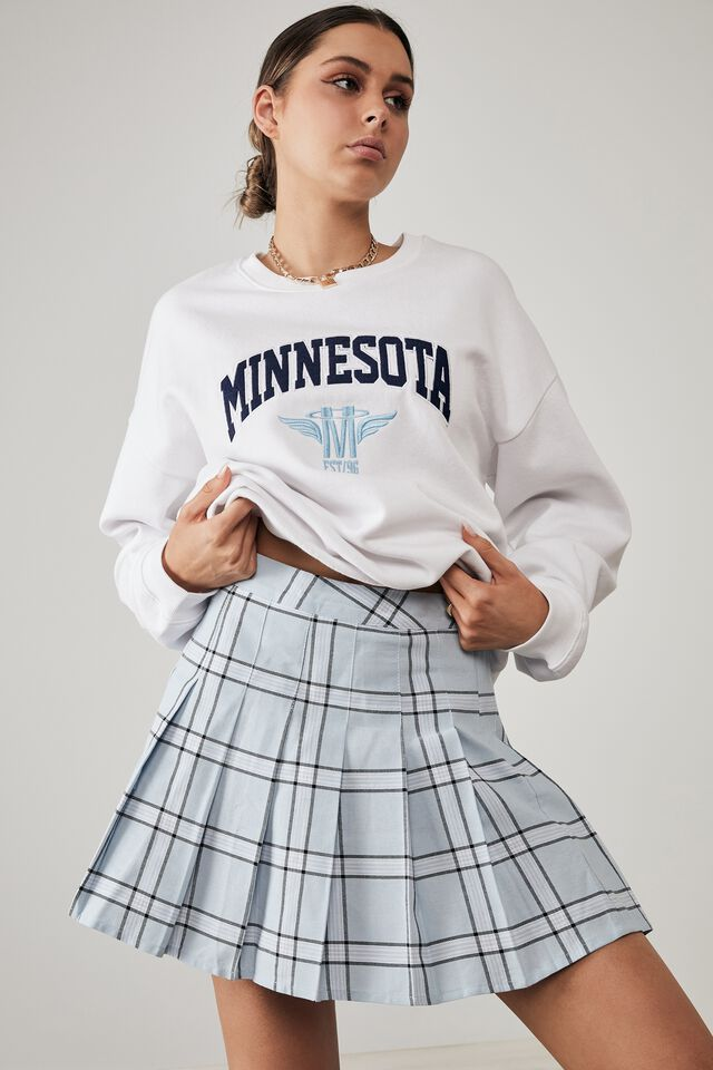 Pleated Skirt, CHER CHECK_SKYWAY