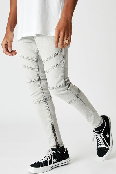 Zip Panel Super Skinny Jean, PALE ACID GREY