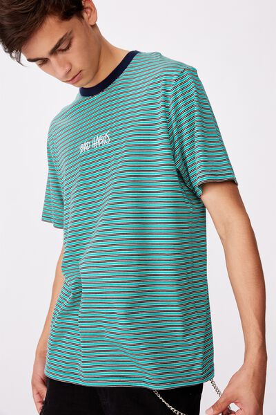 Embroidered Stripe T Shirt, COLUMBIA/BAD HABITS