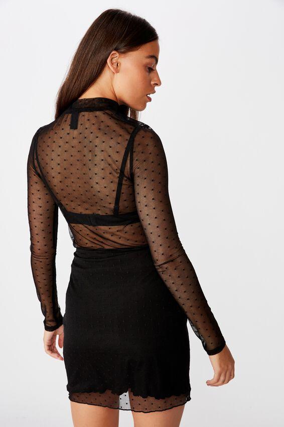 Mesh Skirt, BLACK DOBBY