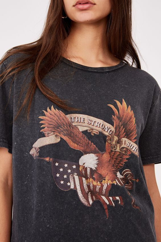 Relaxed Graphic T Shirt, WASHED BLACK/AMERICA SURVIVE