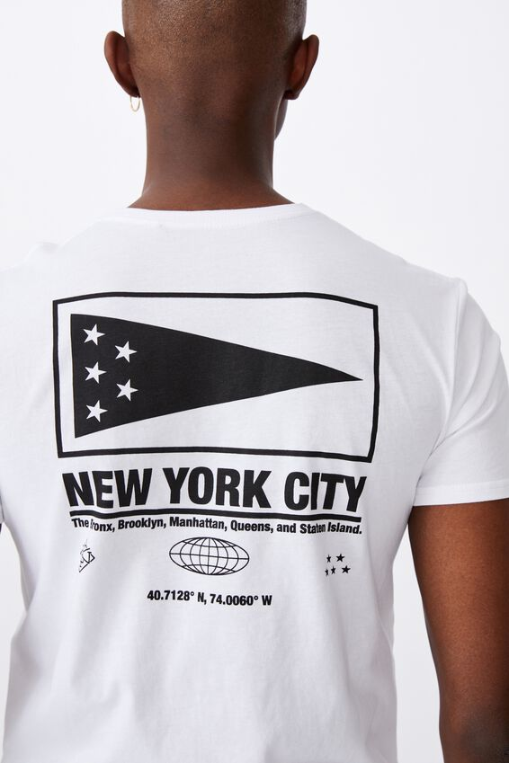 Curved Graphic T Shirt, WHITE/NEW YORK CITY