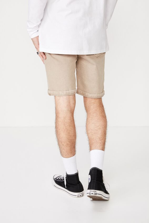 Tapered Denim Short, LIGHT SAND