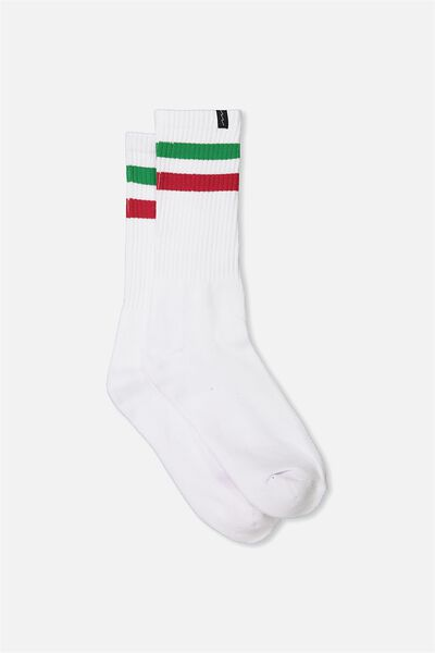 Retro Ribbed Socks, WHITE_RED/GREEN STRIPE