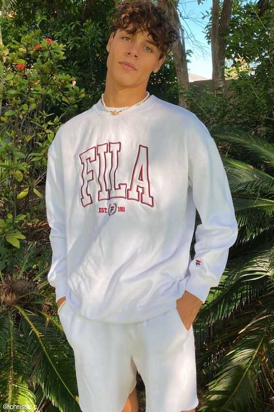 Fila Lcn Oversized College Crew, WHITE/FILA