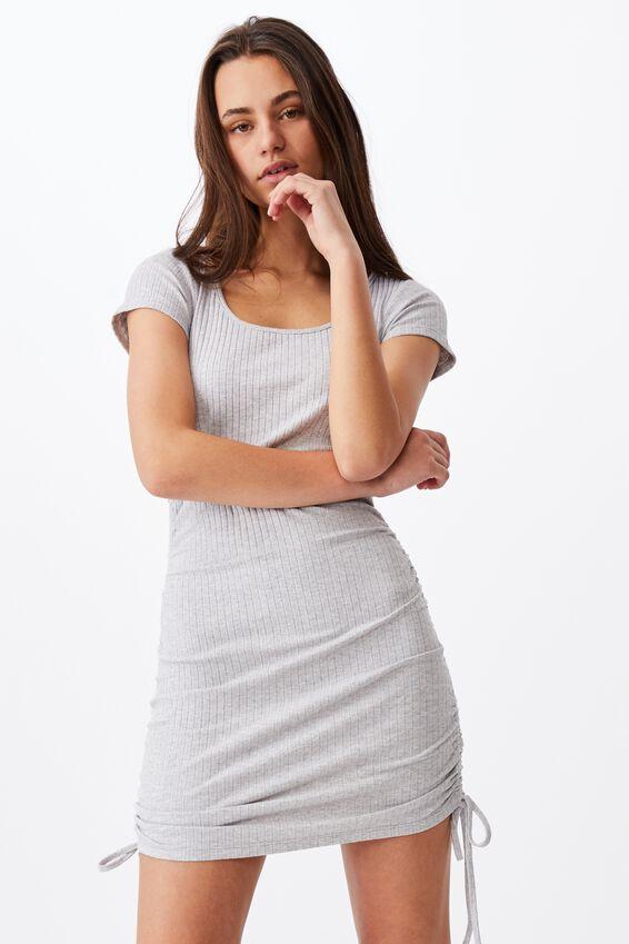 Ruched Side Rib Dress, GREY MARLE