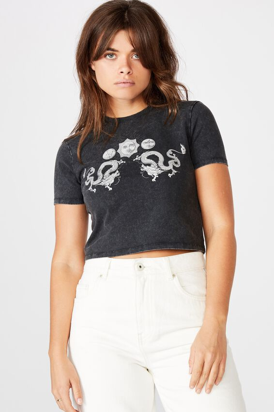 Fitted Graphic T Shirt, WASHED BLACK/SUN MOON DRAGON
