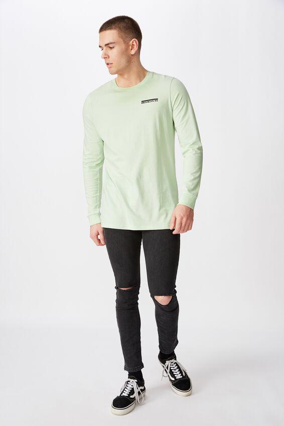 Slim Long Sleeve Graphic T Shirt, MISTY JADE/BROOKLYN NY