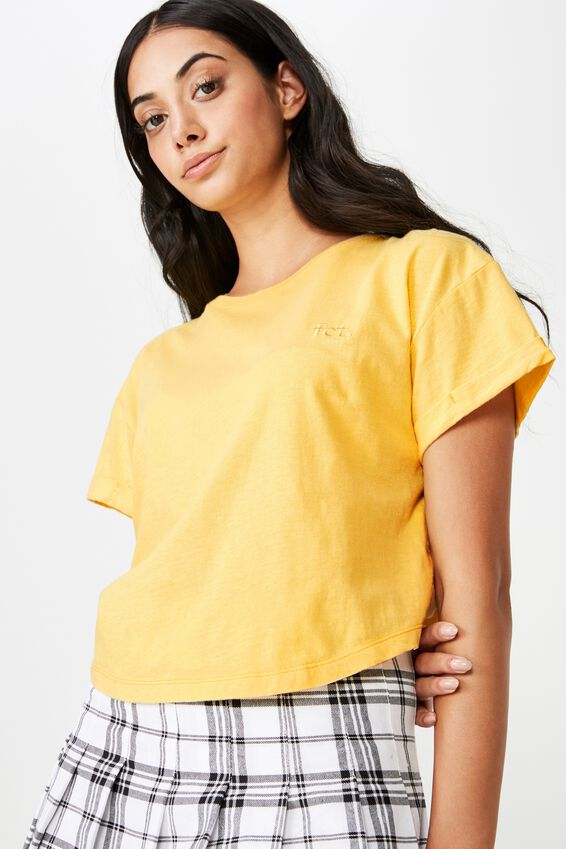 Short Sleeve Crop Fct Tshirt, GOLDEN LEMON