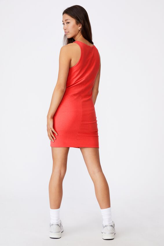 High Neck Fitted Dress, RED APPLE