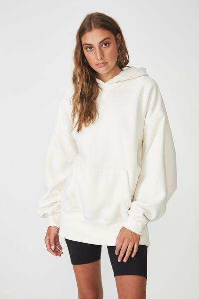 Oversized Polar Fleece Hoodie, CREAM