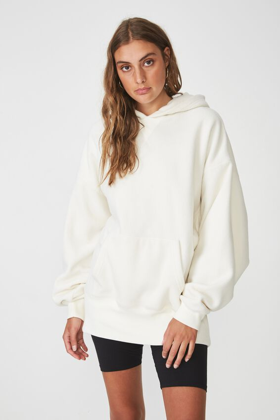 Oversized Polar Fleece Hoodie, CREAM