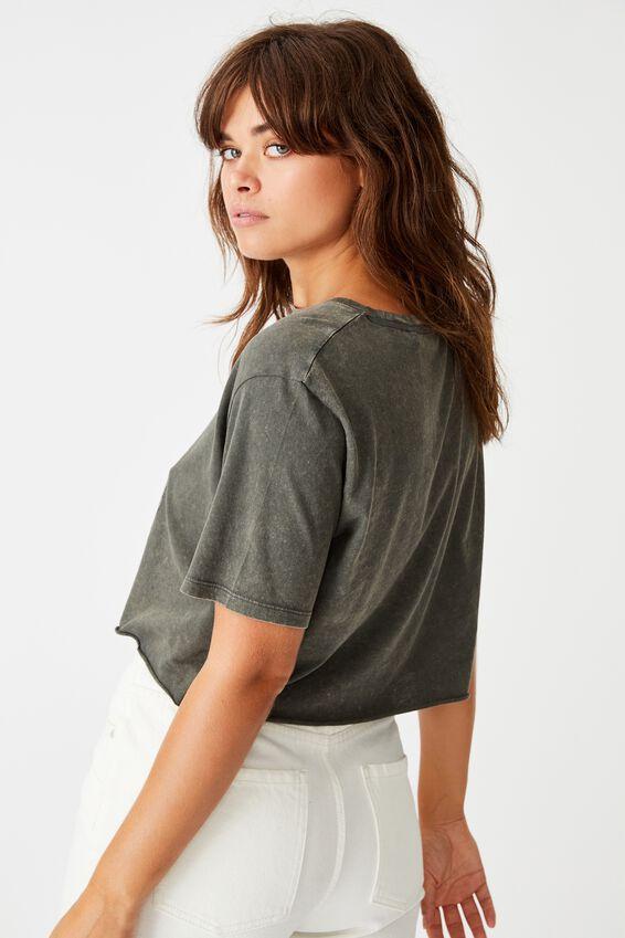 Short Sleeve Raw Edge Crop T Shirt, WASHED ASPHALT/ROUGE RIDERS