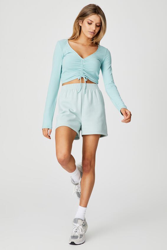 Long Sleeve Pull Front Top, ETHER