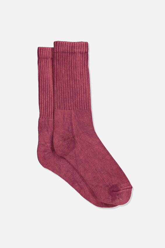 Retro Ribbed Socks, WASHED BURGANDY