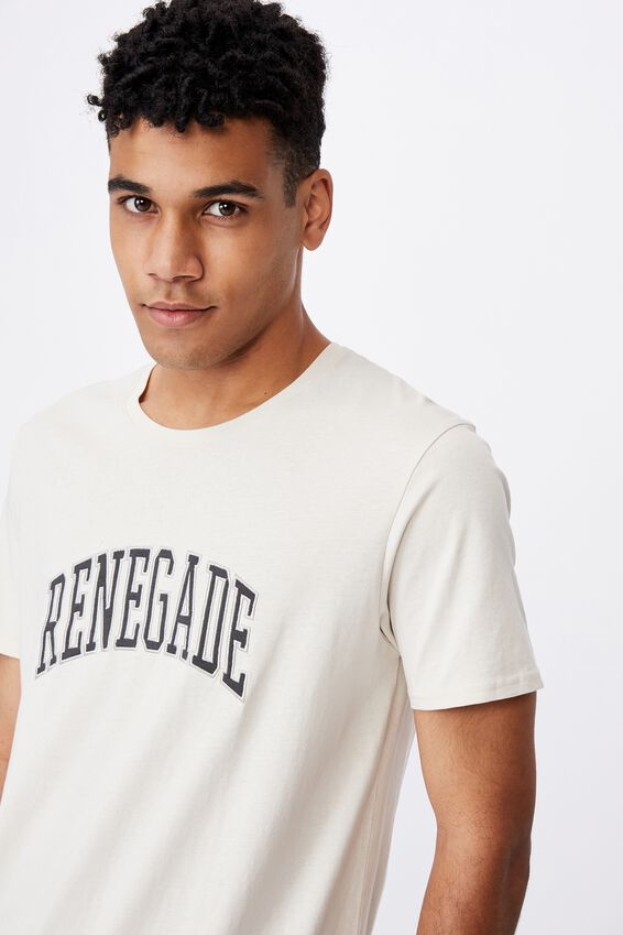 Curved Graphic T Shirt, IVORY/RENEGADE