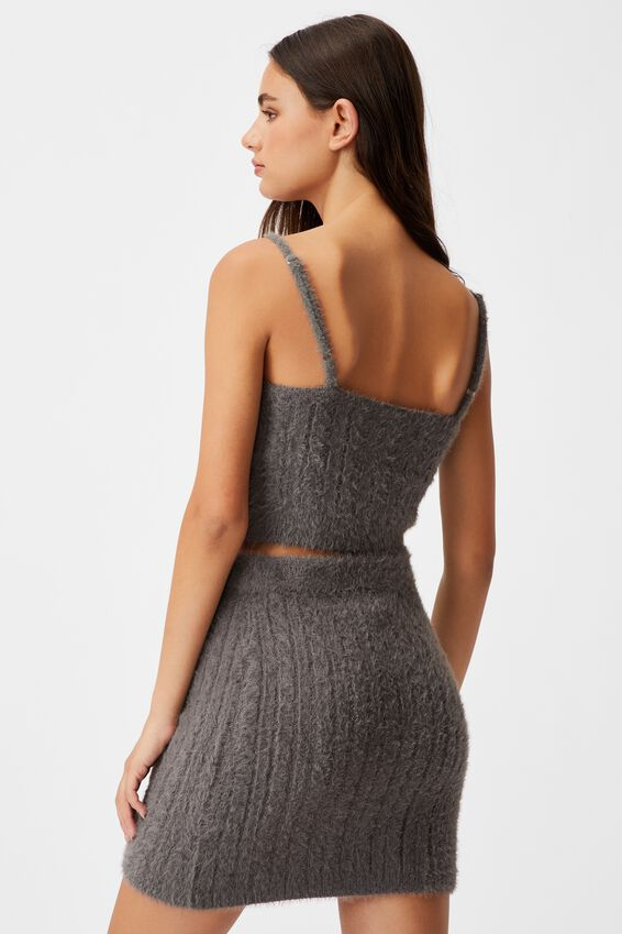 Fluffy Knit Cable Cami, PLUM KITTEN