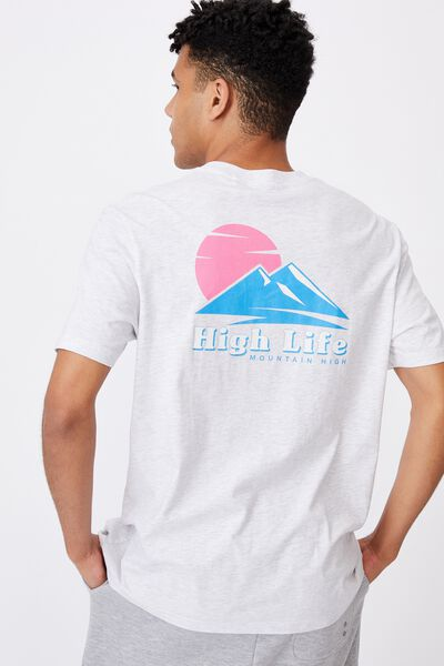 Regular Graphic T Shirt, SILVER MARLE/HIGH LIFE