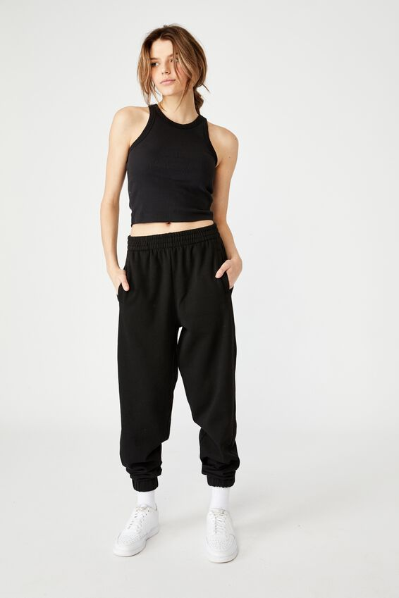 Super Slouchy Track Pant, BLACK