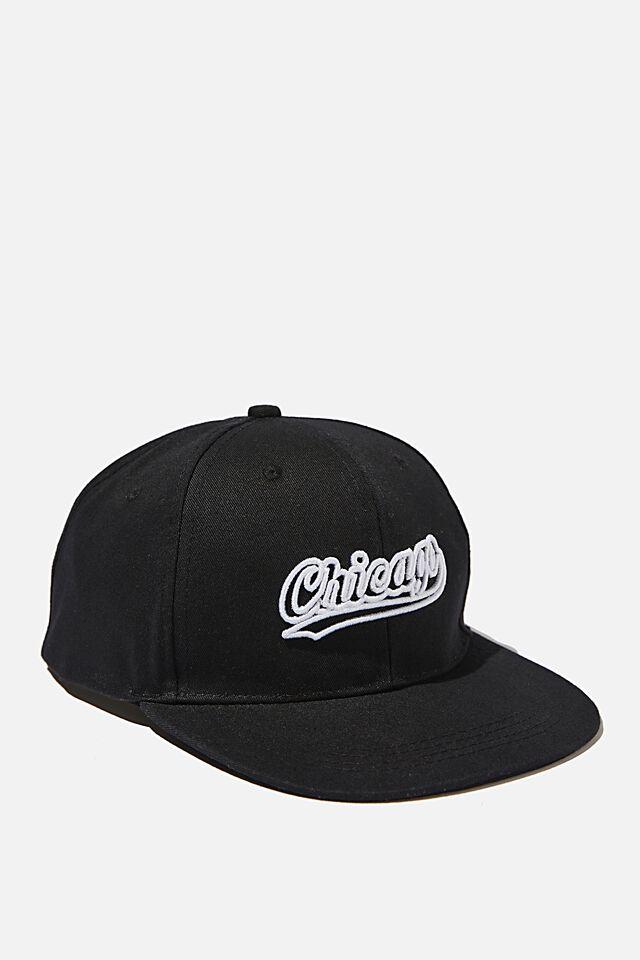 Flat Peak Cap, CHICAGO BLACK