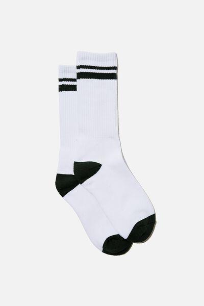 Retro Ribbed Socks, WHITE GREEN STRIPE