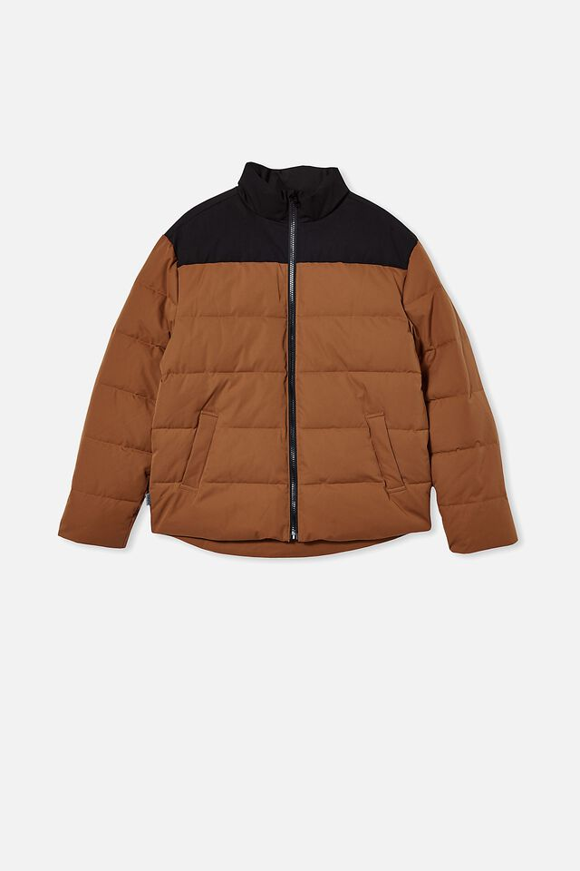 Puffer Jacket, TOBACCO/BLACK