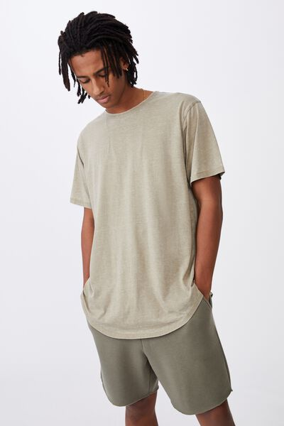 Longline Curved Washed T Shirt, OLD MOSS