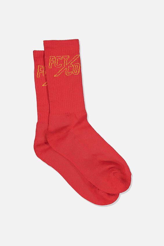 Retro Ribbed Socks, FCT RED/YELLOW LOGO