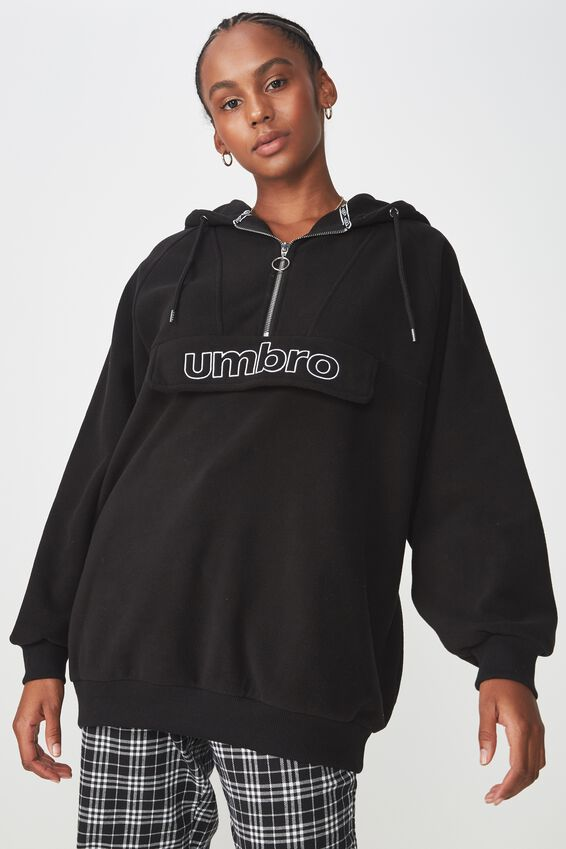 Umbro Lcn Polar Fleece Oversized Hoodie, BLACK