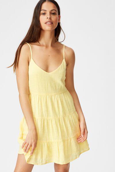 Textured Tiered Dress, POPCORN