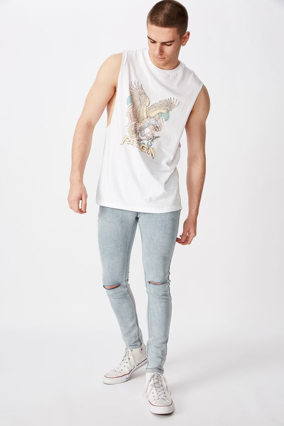 Graphic Muscle Tank, WHITE/REIGN