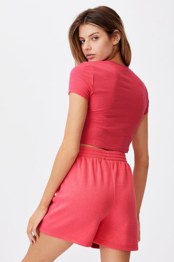 Cinch Front Short Sleeve Top, HONEYSUCKLE
