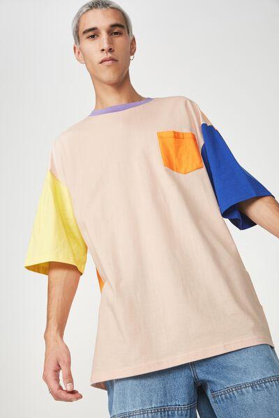 Colourblock T Shirt, PEACH MULTI