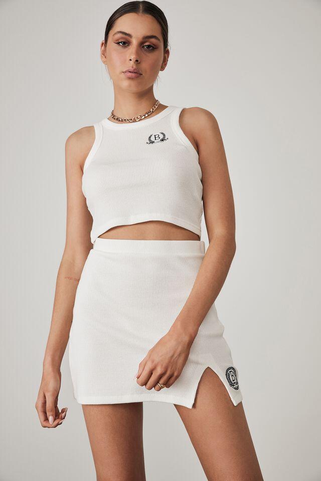 Side Split Mini Skirt, WHITE_PREP CREST