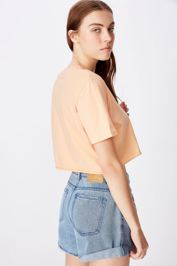 Short Sleeve Raw Edge Crop T Shirt, APRICOT SORBET/RECKLESS