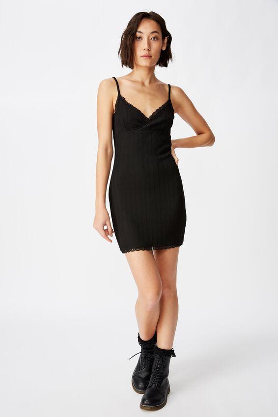 Crossover Front Dress, BLACK