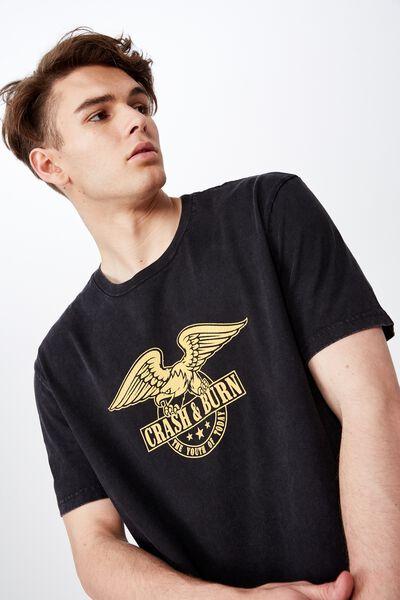 Regular Graphic T Shirt, WASHED BLACK/CRASH AND BURN