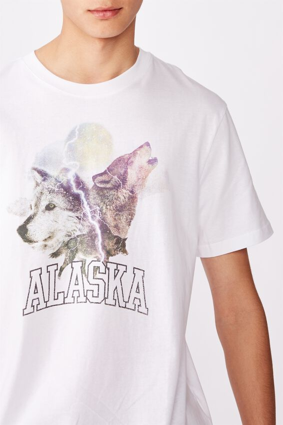 Regular Graphic T Shirt, WHITE/ALASKA WOLF
