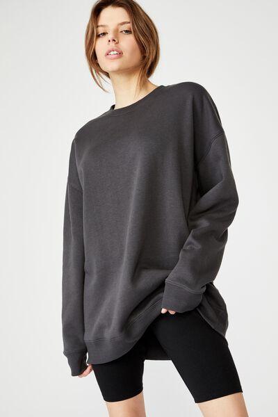 Oversized Crew Neck Sweater, ASPHALT