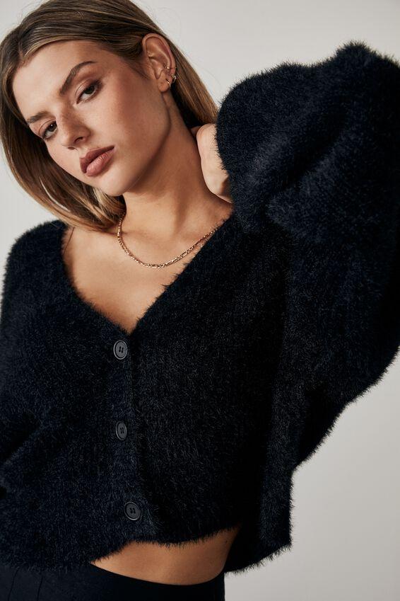 Fluffy Knit Boxy Crop Cardi, BLACK
