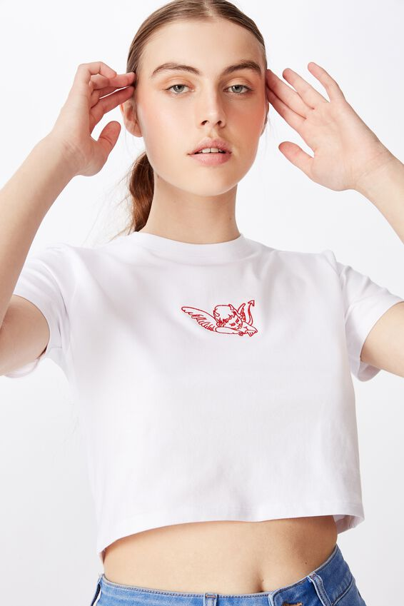 Fitted Graphic T Shirt, WHITE/DEVIL WINGS