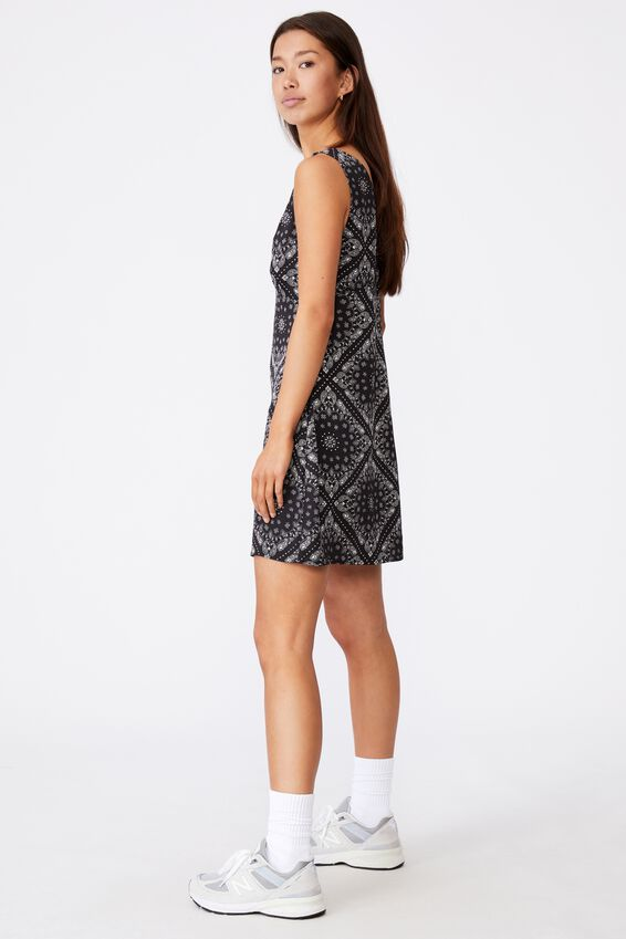Deep V Mini Dress, BANDANA PRINT